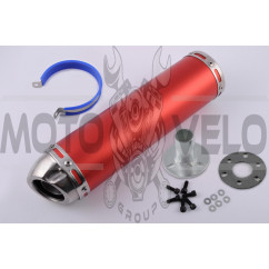 Глушитель (тюнинг) 300*90mm, креп. Ø48mm (нержавейка, красный, прямоток, mod:10)