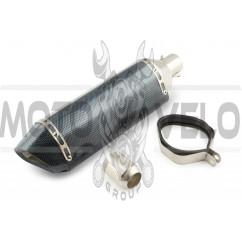 Глушитель (тюнинг) 460*130mm (нержавейка, три-овал, карбон светлый, прямоток, mod:1) 118