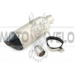 Глушитель (тюнинг) 380*125mm (нержавейка, три-овал, серебро, прямоток, mod:5) 118