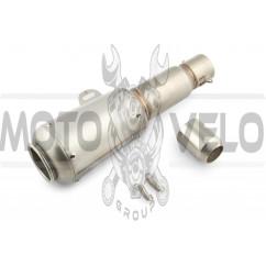 Глушитель (тюнинг) 370*105mm (нержавейка, овал, серый, прямоток) 118