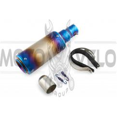 Глушитель (тюнинг) 325*100mm (нержавейка, овал, серо-синий, прямоток) 118