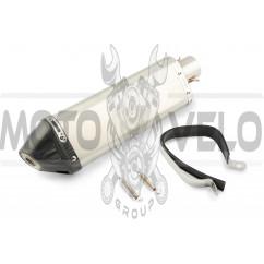 Глушитель (тюнинг) 380*85mm (нержавейка, три-овал, серебро, прямоток) 118