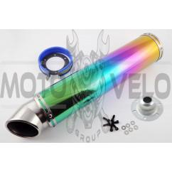 Глушитель (тюнинг) 420*100mm, креп. Ø78mm (нержавейка, радуга, mod:3)