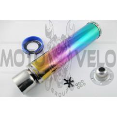 Глушитель (тюнинг) 420*100mm, креп. Ø78mm (нержавейка, радуга, mod:17)