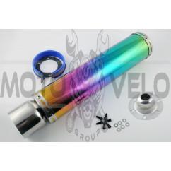 Глушитель (тюнинг) 420*100mm, креп. Ø78mm (нержавейка, радуга, прямоток, mod:13)