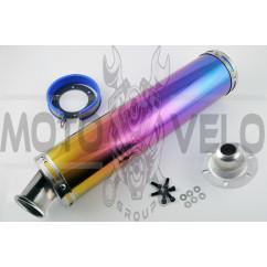 Глушитель (тюнинг) 420*100mm, креп. Ø78mm (нержавейка, радуга, прямоток, mod:15)