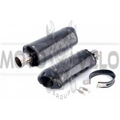 Глушитель (тюнинг) 460*130mm (нержавейка, три-овал, карбон светлый, прямоток, mod:7) 118