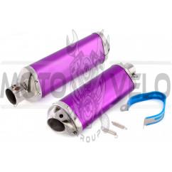 Глушитель (тюнинг) 460*130mm (нержавейка, три-овал, фиолетовый, прямоток) 118