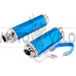 Глушитель (тюнинг) 460*130mm (нержавейка, три-овал, синий, прямоток) 118