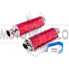Глушитель (тюнинг) 420*100mm, креп. Ø78mm (нержавейка, красный, прямоток) 118