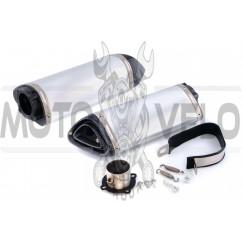 Глушитель (тюнинг) 460*130mm (нержавейка, овал, матовый, прямоток) 118