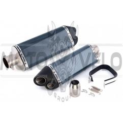 Глушитель (тюнинг) 370*105mm (нержавейка, три-овал, карбон светлый, прямоток, mod:2) 118