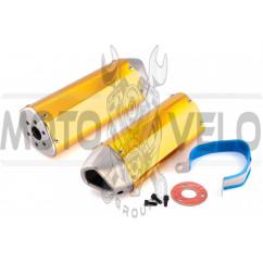Глушитель (тюнинг) 370*105mm (нержавейка, три-овал, оранжевый, прямоток) 118