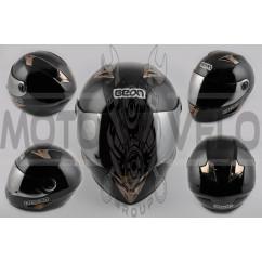 Шлем-интеграл (mod:B-500) (size:L, черный, зеркальный визор) BEON