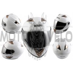 Шлем-интеграл (mod:B-500) (size:XL, белый, зеркальный визор) BEON