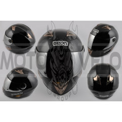 Шлем-интеграл (mod:B-500) (size:XL, черный, зеркальный визор) BEON