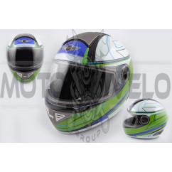 Шлем-интеграл (mod:550) (premium class) (size:M, бело-зеленый) Ш104 KOJI