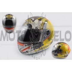 Шлем-интеграл (mod:550) (premium class) (size:XL, желто-оранжевый) Ш112 KOJI