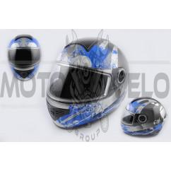 Шлем-интеграл (mod:550) (premium class) (size:XL, черно-синий) Ш119 KOJI