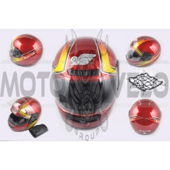 Шлем-интеграл (mod:101) (size:XL, красно-желтый, воротник, багажник) KAVIR