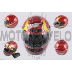 Шлем-интеграл (mod:101) (size:L, красно-желтый, воротник) KAVIR