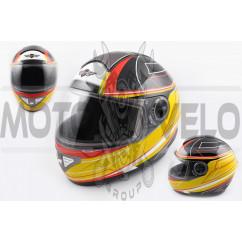 Шлем-интеграл (mod:550) (premium class) (size:XL, черно-желтый) KOJI