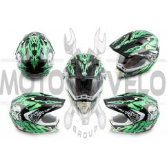 Шлем кроссовый (mod:CR188) (с визором, size:XL, черно-зеленый) HELMO