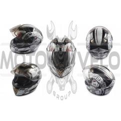Шлем-интеграл (mod:B-500) (size:XL, белый, зеркальный визор FUTURE SOLDIER) BEON
