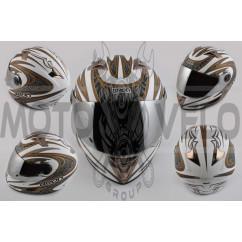 Шлем-интеграл (mod:B-500) (size:XL, бело-серый, зеркальный визор, BLADE) BEON