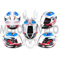 Шлем-интеграл (mod:B-500) (size:M, бело-красно-синий, зеркальный визор, STORM) BEON