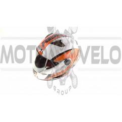Шлем-интеграл   (mod:B-500) (size:XL, бело-оранжево-красный)   BEON