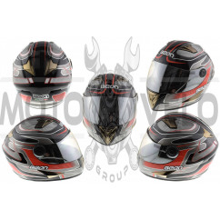 Шлем-интеграл   (mod:B-500) (size:XL, черно-серо-красный)   BEON, шт