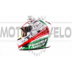 Шлем-интеграл   (mod:B-500) (size:L, бело-красно-зеленый)   BEON, шт