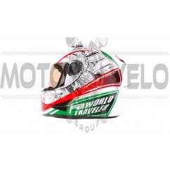 Шлем-интеграл   (mod:B-500) (size:M, бело-красно-зеленый)   BEON, шт