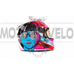 Шлем-интеграл   (mod:B-500) (size:XL, бело-розово-голубой)   BEON, шт