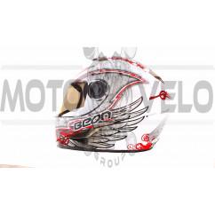 Шлем-интеграл   (mod:B-500) (size:M, бело-черно-синий)   BEON, шт