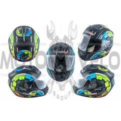 Шлем-интеграл   (mod:FF352) (size:XL, черно-зеленый, STEREO)   LS-2