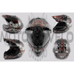 Шлем кроссовый (mod:Skull) (с визором, size:XXL, красный) LS-2
