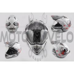 Шлем кроссовый (mod:MX433) (с визором, size:XXL, белый, SNAKE) LS-2