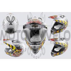 Шлем кроссовый (mod:MX433) (с визором, size:ХL, белый, JUSTICE) LS-2