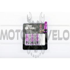 Ниппель колеса (стайлинговый, прямой) (фиолетовый) (#0001) MAX GUARD