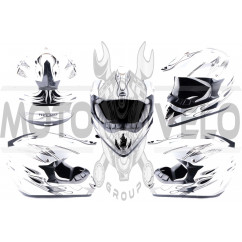 Шлем кроссовый (mod:CR168) (size:L, белый, FIRE) HELMO