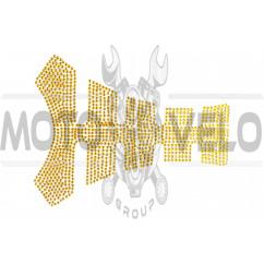 Наклейка на бак (20x16см, стразы золото)
