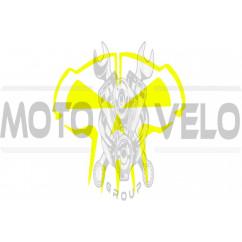 Наклейка декор SKULL (10x10см, желтая) (#HQ5Y)