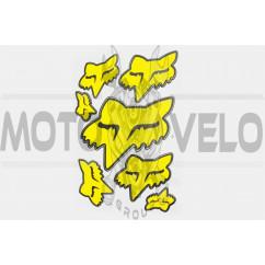 Наклейки (набор) спонсор FOX (28х20см, желтые) (#7061)