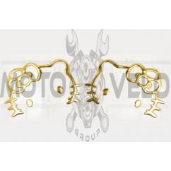 Наклейка декор HELLO KITTY (16x6см, золотая) (#4739G)