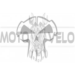 Наклейка декор SKULL (10x10см, серая) (#HQ5G)
