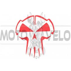 Наклейка декор SKULL (10x10см, красная) (#HQ5R)