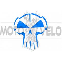 Наклейка декор SKULL (10x10см, синяя) (#HQ5B)