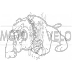Наклейка декор DOG (13x10cм, белая, левая) (#HQ007WL)
